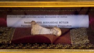 Knochenreliquie der heiligen Maria Bernarda in der Pfarrkirche St. Nikolaus in Auw. | © Roger Wehrli