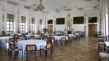 Ein Ort der Superlative. Auch der grösste barocke Festsaal der Schweiz ist im Kloster St. Urban zu finden. Die Decke des Raums ist an der Dachkonstruktion aufgehängt und kommt ohne Säulen aus. | © Roger Wehrli