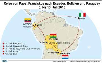 Stationen der Reise von Papst Franziskus vom 5. bis 13. Juli 2015 nach Südamerika in die Länder Ecuador, Bolivien und Paraguay. | © kna-bild
