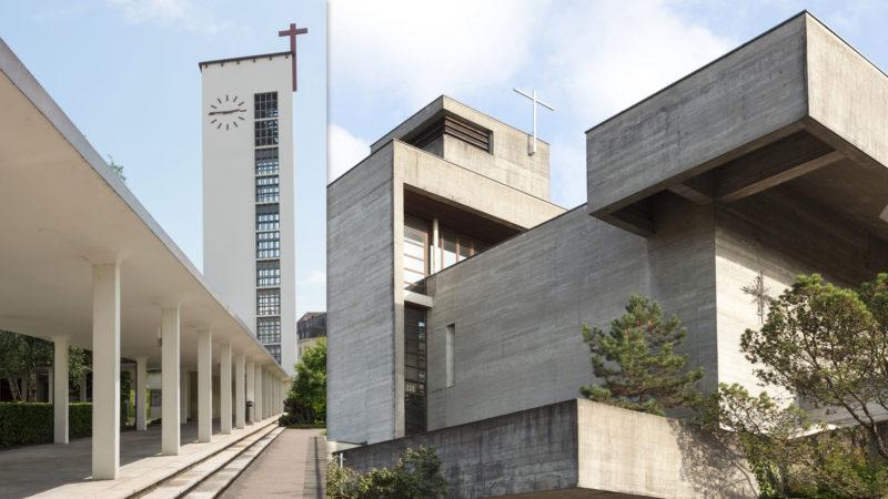 Diesen Sommer präsentiert Horizonte unter dem Motto «Cooler Beton für heisse Tage» die fünf schönsten Betonkirchen im Aargau. Diese Woche starten wir mit den Römisch-Katholischen Kirchen in Aarau und Ennetbaden. Letztere steht bereits unter Denkmalschutz, für erstere läuft aktuell das Unterschutzstellungsverfahren. | © Rolli/Wehrli/Honegger