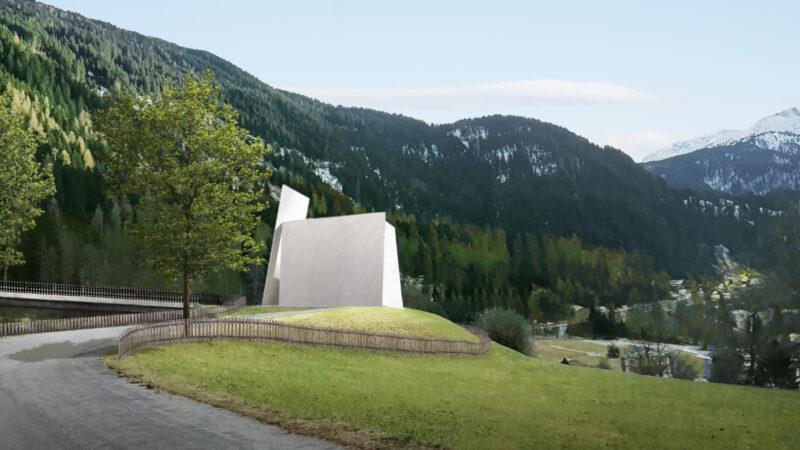 Modell der in Andeer geplanten Autobahnkirche. Den Rohbau wollen die Initianten bis Ende 2022 fertiggestellt haben. | © Herzog & De Meuron