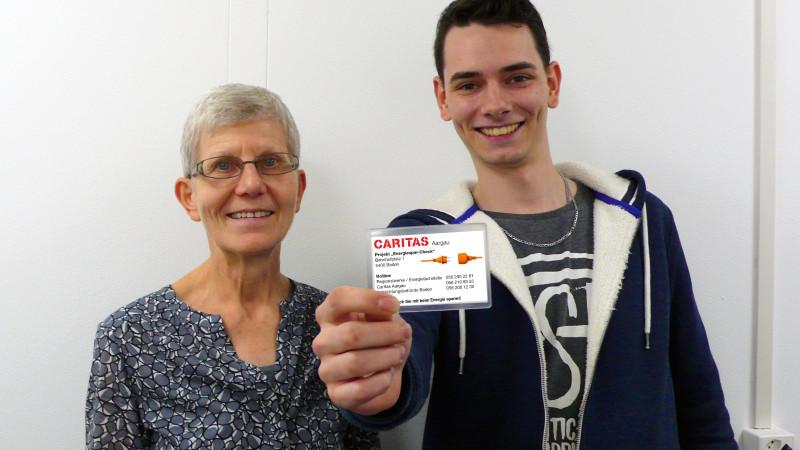 Energiespar-Coaches der Caritas: Helene Schreiber und Dominic Wehrli. | © Karin Sarafoglu