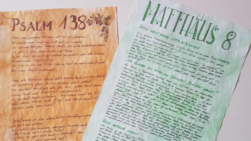 Für die St. Galler Corona-Bibel haben 1189 Freiwillige je ein Kapitel von Hand abgeschrieben. | © kath.ch