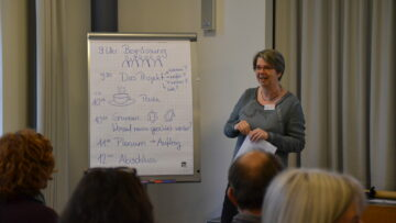 Projektleiterin Regula Kuhn stellt den Kickoff-Teilnehmern das Veranstaltungsprogramm vor. | © Christian Breitschmid