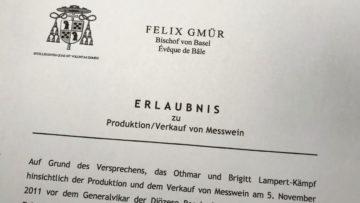 Als einzige Messweinproduzentin  im Bistum Basel ist die Kellerei Lampert in Steckborn vom Bischof zertifiziert. Den Messwein St. Othmar darf sie ausschliesslich an Pfarreien verkaufen. | © Marie-Christine Andres