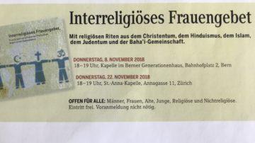 Das interreligiöse Frauengebet findet am 8. November in Bern und am 22. November in Zürich statt. | © Marie-Christine Andres