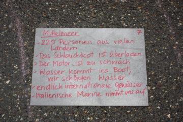 Für die Plakate auf der Badstrasse haben Flüchtlinge von ihren Erinnerungen an die Flucht erzählt. | © Marie-Christine Andres