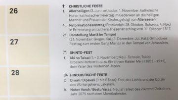 Kurze Texte erläutern die im Kalender eingetragenen Feste. | © Marie-Christine Andres