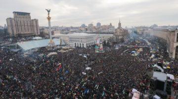 Im Winter 2013/2014 protestierten Hunderttausende auf dem Maidan-Platz in Kiew, nachdem Präsident Wiktor Janukowytsch das Land wieder enger an Russland  herangeführt hatte. | © Klementija Dymyd