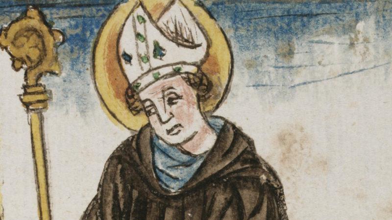 Der Heilige Otmar auf einer Darstellung aus dem 15. Jahrhundert. | © Stiftsbibliothek St. Gallen
