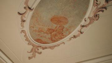 Längst verschollen geglaubte Deckenbilder zeigen den Gott Saturn, umgeben von den vier Jahreszeiten in den Ecken eines Raumes (im Bild der Sommer). | © Andreas C. Müller