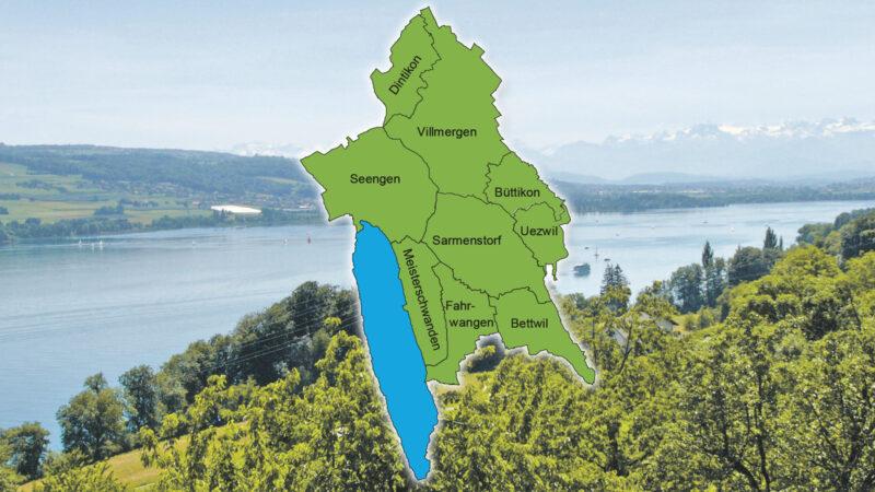 Die Karte zeigt den neuen Pastoralraum Erusbach-Hallwilersee mit all seinen Gemeinden.   © kasi.ch