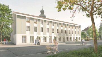Mit dem Projekt «Chilematt» in Würenlos plant die Römisch-Katholische Kirchgemeinde einen Neubau mit sechs Dreieinhalb- und zwei Viereinhalb-Zimmer-Mietwohnungen sowie Geschäftsräumlichkeiten und einem Begegnungssaal für kirchennahe Vereine und andere Institutionen. | zvg