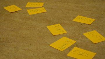 Die Kinder erzählen, welche Rollen sie im Text gefunden haben. Später dürfen sie ihre Lieblingsrollen markieren. Die Besetzung übernimmt dann Judith Näf. Sie bereitet die Kinder transparent darauf vor, dass nicht jedes seine Herzensrolle wird spielen können. | © Anne Burgmer