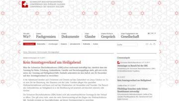 Neben der Schweizer Bischofskonferenz (SBK) veröffentlichten auch der Schweizerische Evangelische Kirchenbund (SEK) und die Schweizerische Evangelische Allianz (SEA) entsprechende Medienmitteilungen. | © screenshot SBK