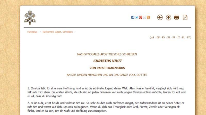 Im Schreiben Christus vivit macht Franziskus keine konkreten Vorschläge für die Jugendarbeit, sondern spricht von «offenen Räumen» für die Jugend. | © screenshot